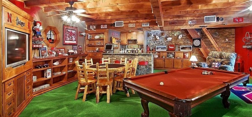 man cave with pool table