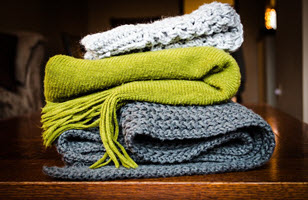 blankets green grey knit fall decor
