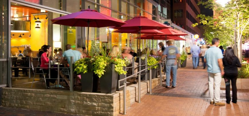 outdoor dining in livable Denver Metro Neighborhood
