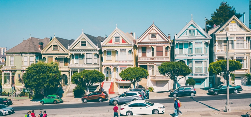 Row of homes in the summer