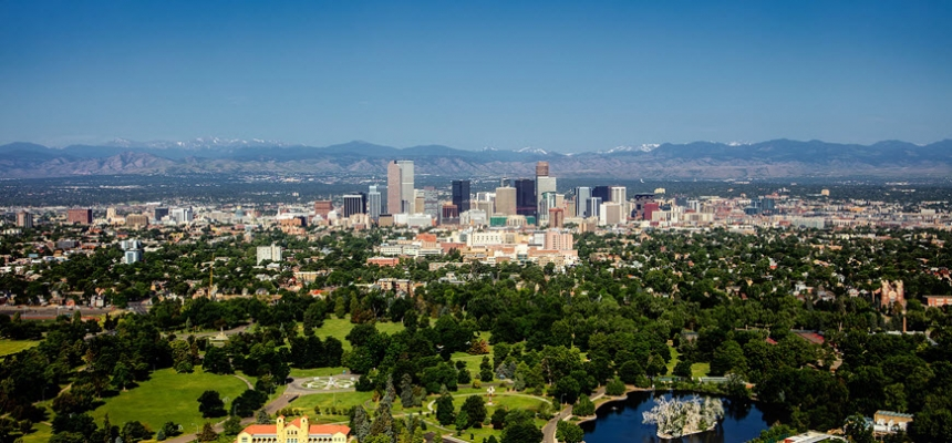 Denver skyline with popular neighborhoods