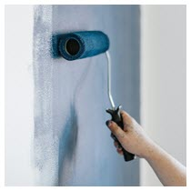 paint roller blue home renovation