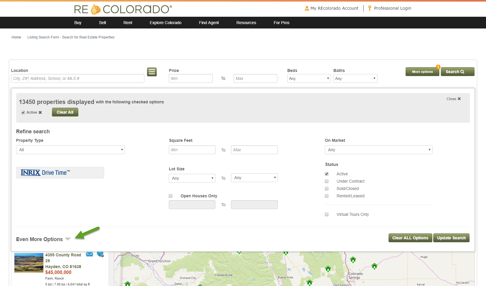 REcolorado home search fields even more options