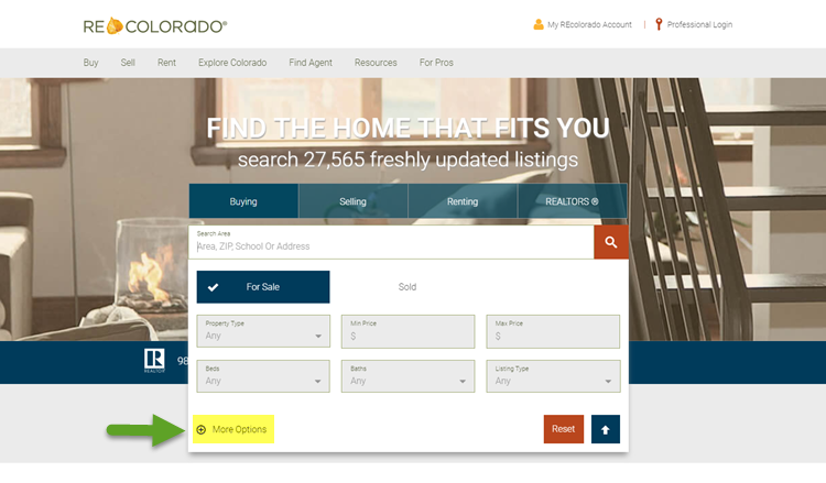 REcolorado home search bar more options