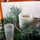 fall decor table centerpiece candles evergreen