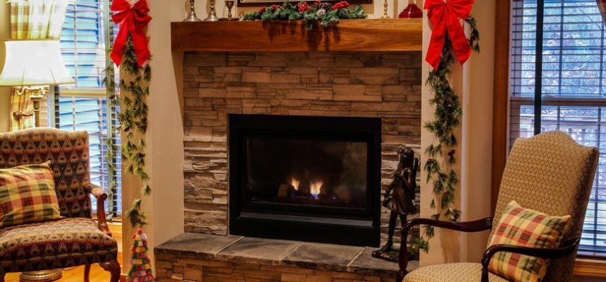 fireplace winter decor Colorado