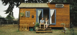 couple outside tiny house location space