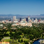 Denver skyline with popular neighborhoods
