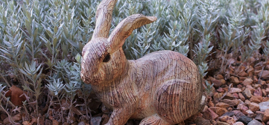 Colorado xeriscape garden with rabbit art