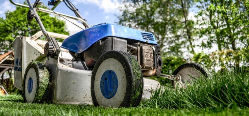 lawn mover on grass yard care