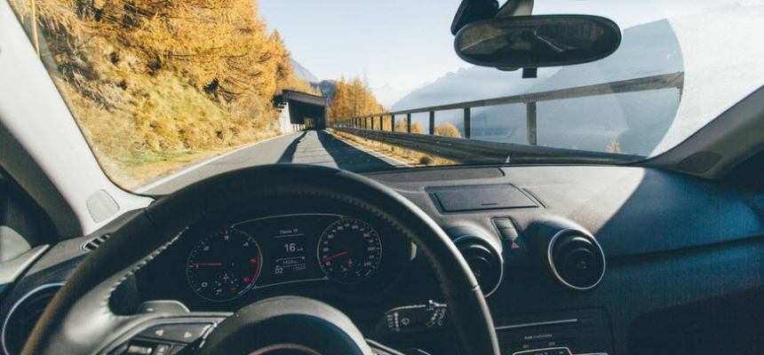 interior driverless car steering wheel