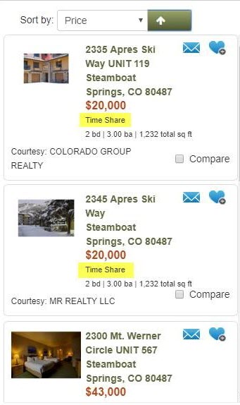 REcolorado home search results timeshare