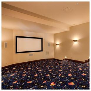 home theater decor carpet theme