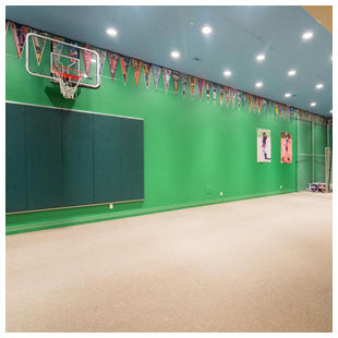 indoor basketball sports room batting cage