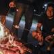 adults smores backyard firepit fall