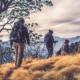 fall hiking snow backpack trail