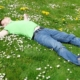 spring lawn man laying grass yard