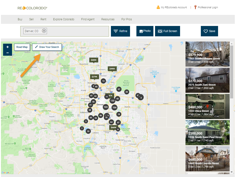 REcolorado home search results map draw button